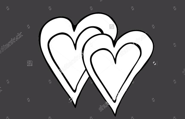double heart silhouette