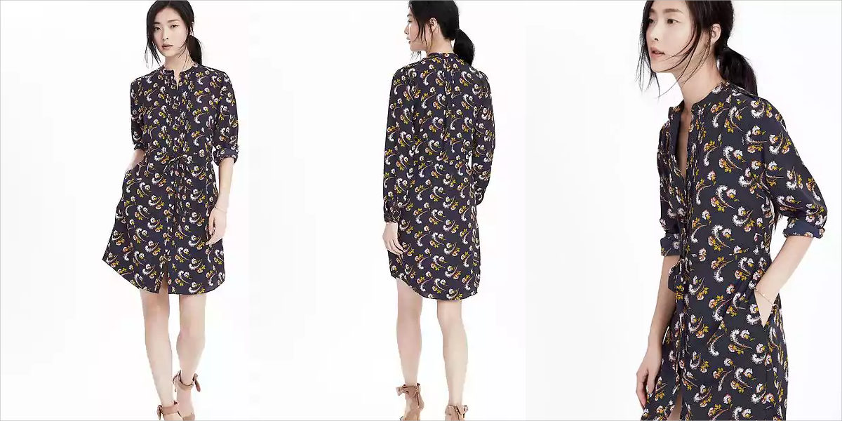 banana republic long sleeve floral shirtdress