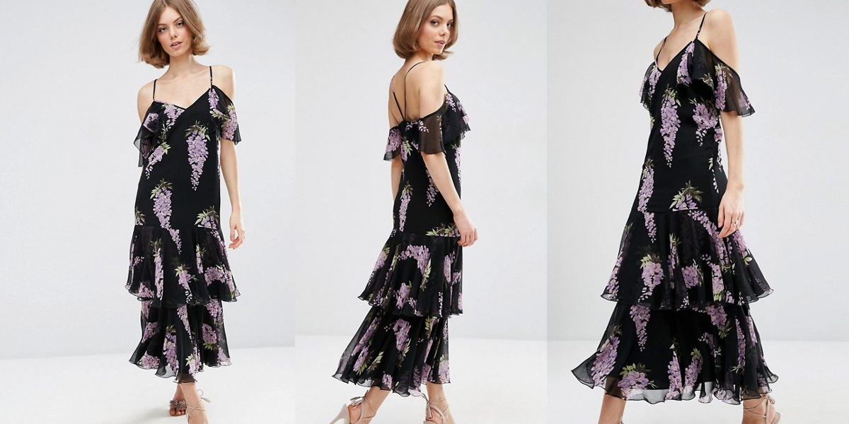 asos premium frill wisteria print maxi dress