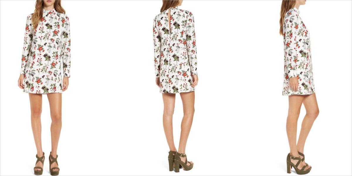 leith floral print mock neck dress