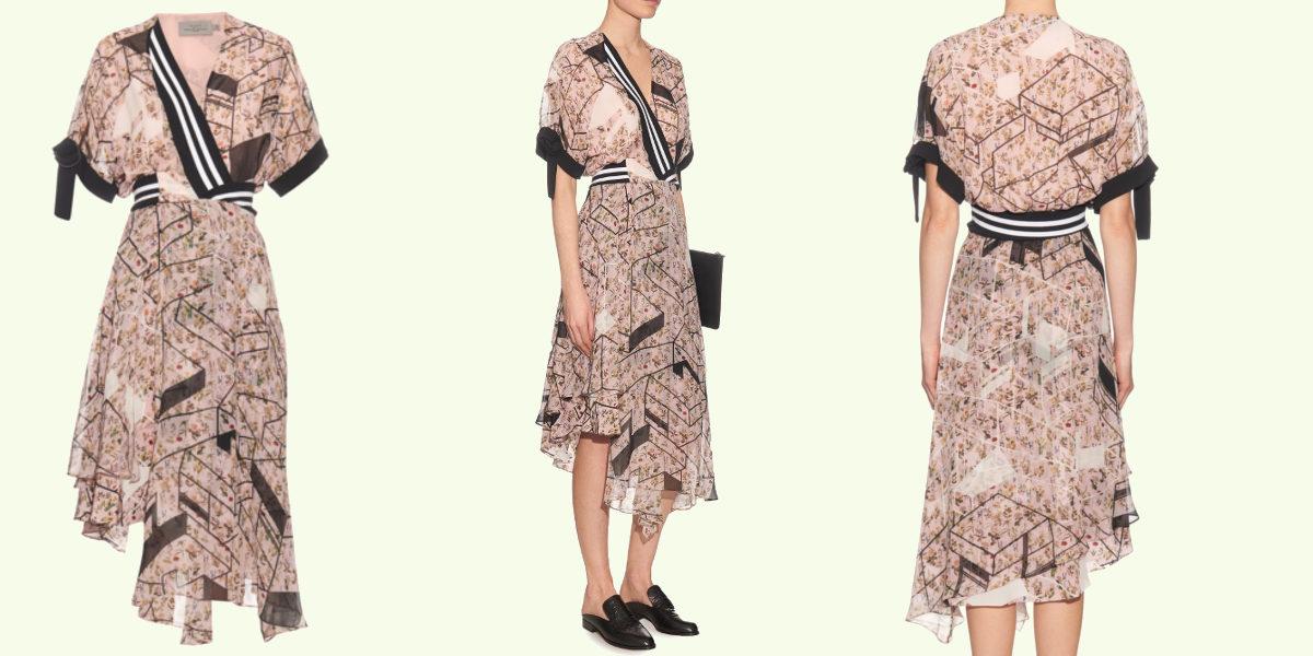 scarlet asymmetric printed silk crepe dress