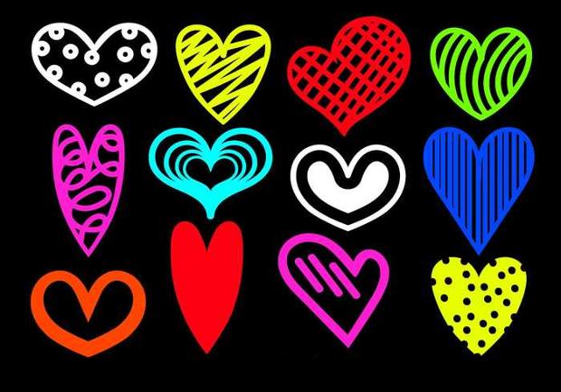 hand drawn heart silhouette