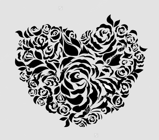 Abstract Floral Heart Silhouette