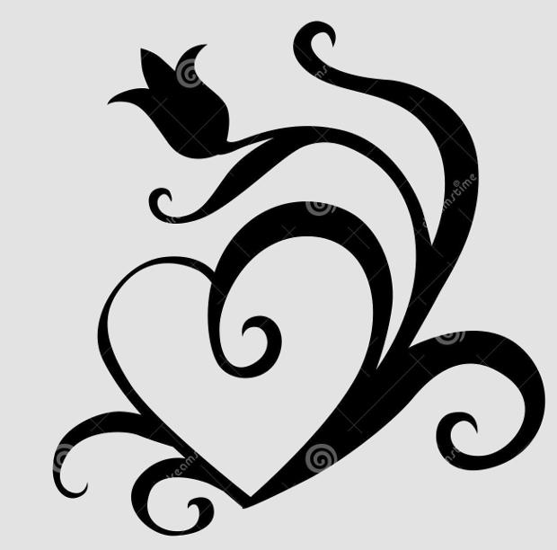 tulip heart silhouette