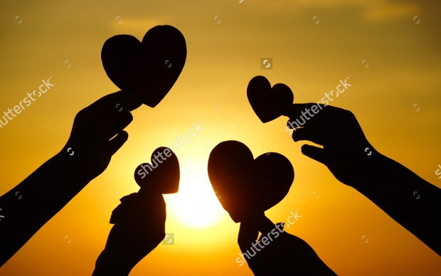 Hands Holding Heart Silhouette
