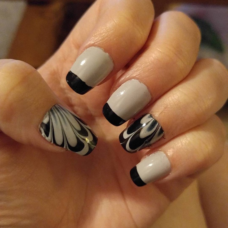 thanksgiving water marble tip nails