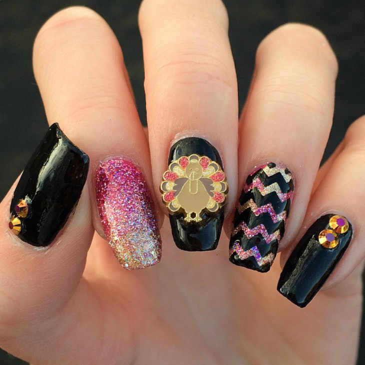 thanksgiving 3d black nail art