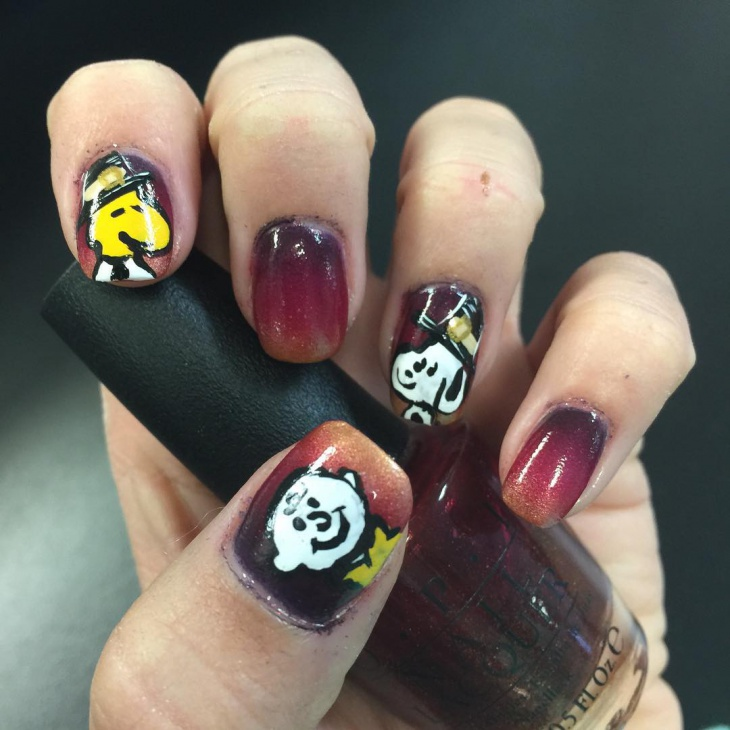 snoopy thanksgiving gel nails