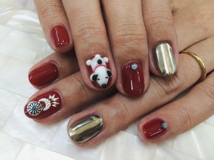 3d snoopy thanksgiving nails