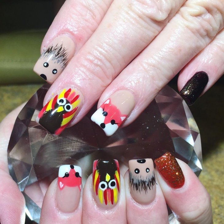 thanksgiving turkey fox nails