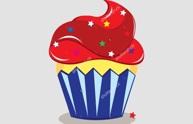 red and blue cupcake clipart