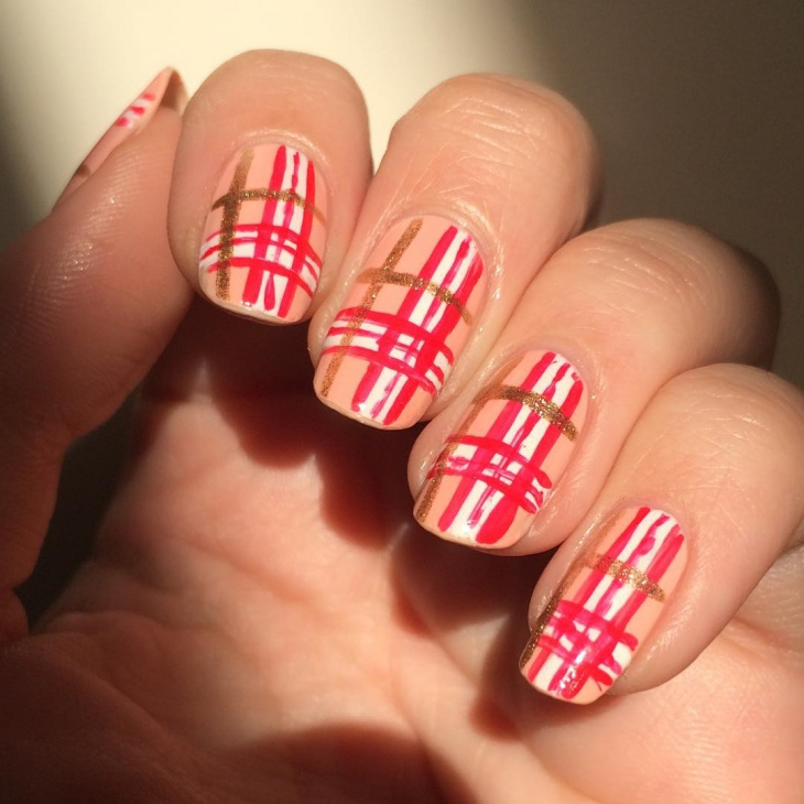thanksgiving red striped nails