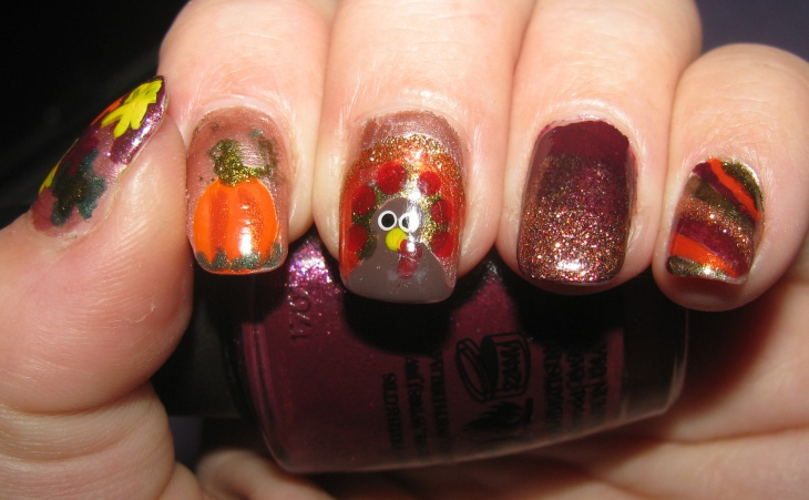 thanksgiving colorful pumpkin nails