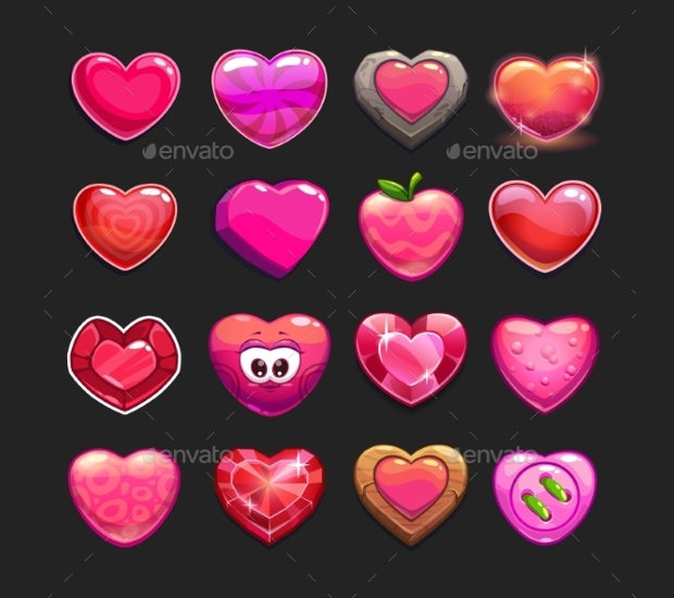 Cartoon Heart Icon Set