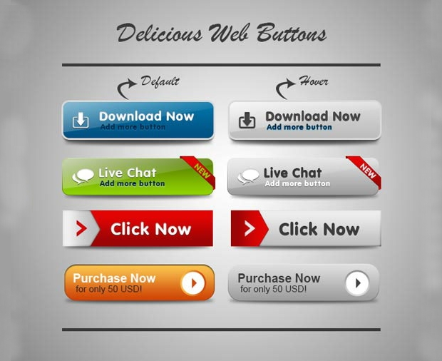 delicious web buttons
