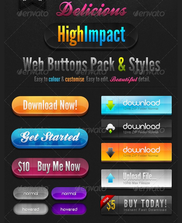 delicious high impact web buttons