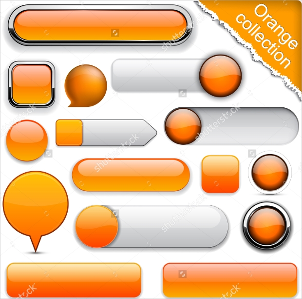 delicious blank orange web buttons