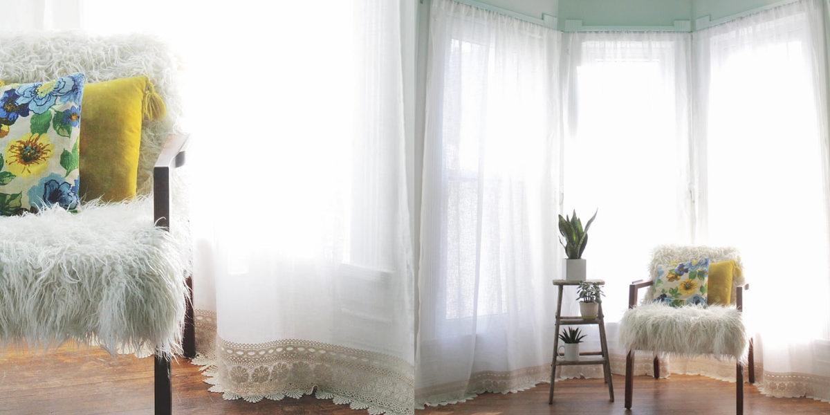 lace trim curtains