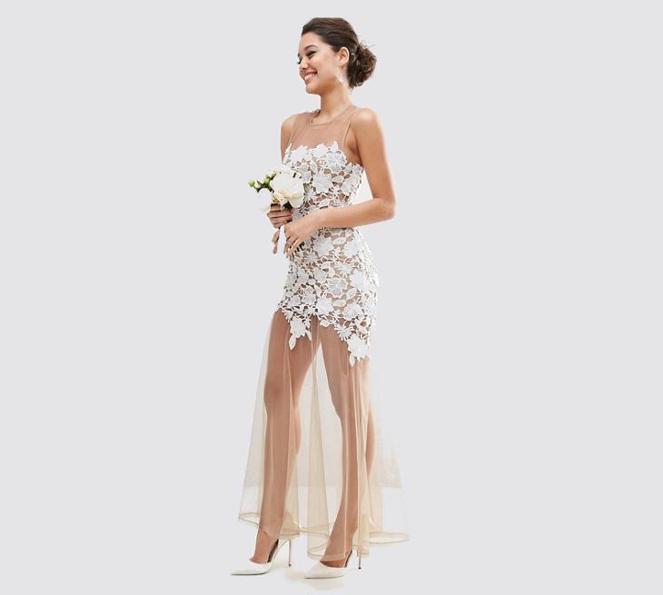 mesh lace maxi dress