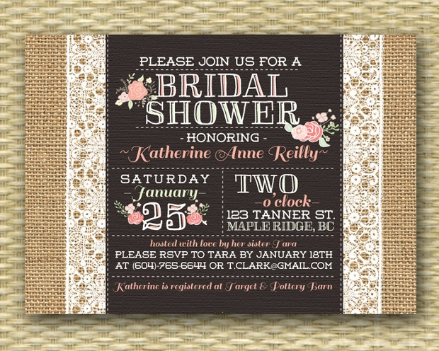Rustic Lace Bridal Shower Invitation