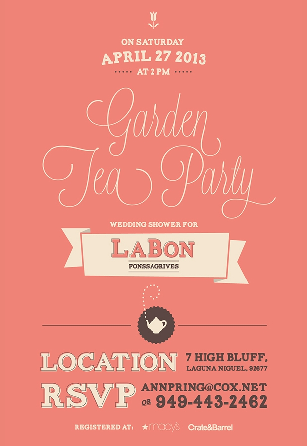 Garden Tea Party Bridal Shower Invitation