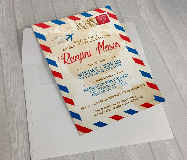 Vintage Travel Bridal Shower Invitation