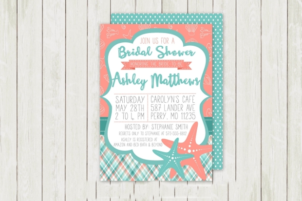 Beach Party Bridal Shower Invitation