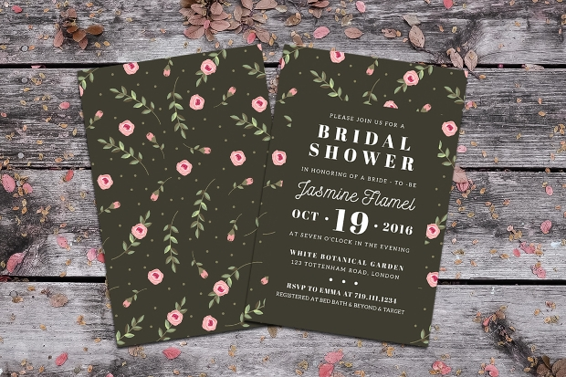 Pink Floral Bridal Shower Invitation
