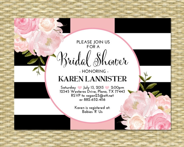 Black and White Bridal Shower Invitation