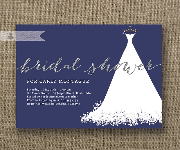 Silver Glitter Bridal Shower Invitation