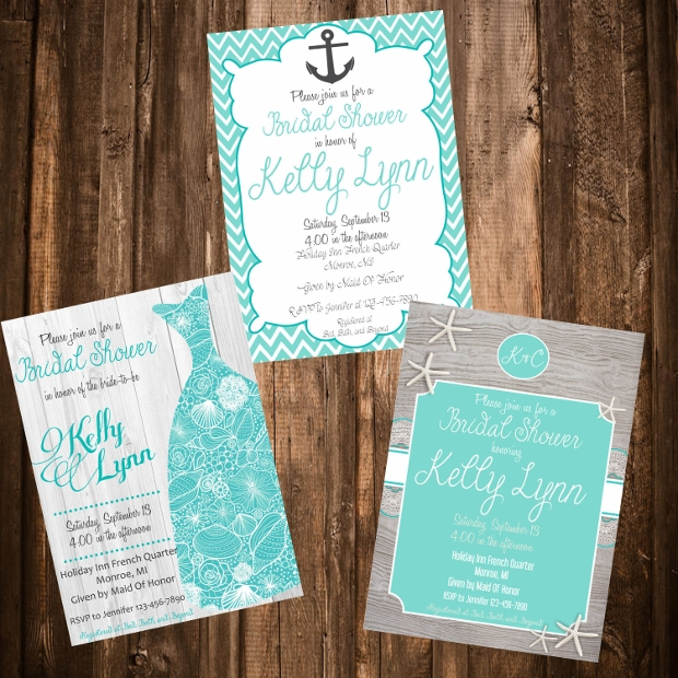 Printable Beach Themed Bridal Shower Invitation