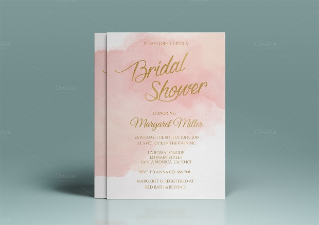 Pink Watercolor Bridal Shower Invitation