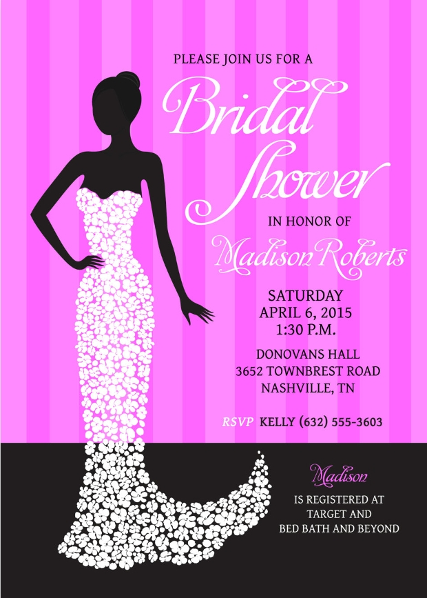 Pink and Black Bridal Shower Invitation