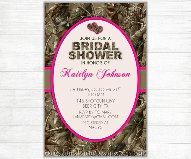 Pink Camo Bridal Shower Invitation