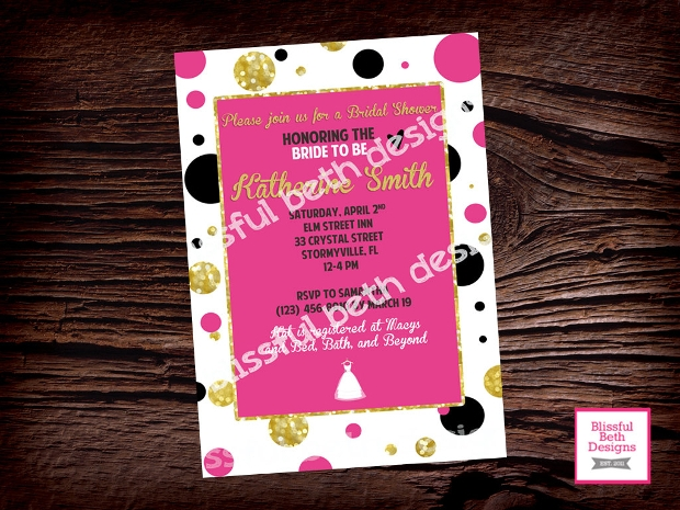 Pink Polka Dot Bridal Shower Invitation