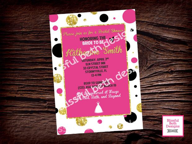 Pink Polka Dot Bridal Shower Invitation