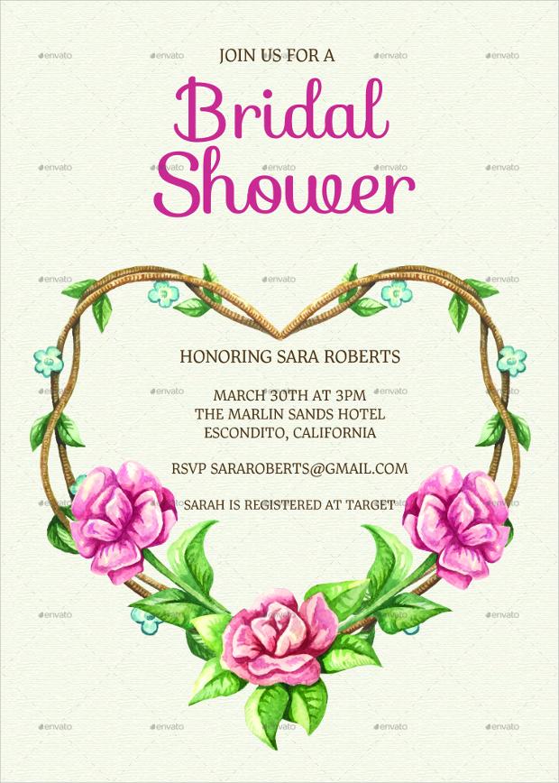 Formal Floral Bridal Shower Invitation