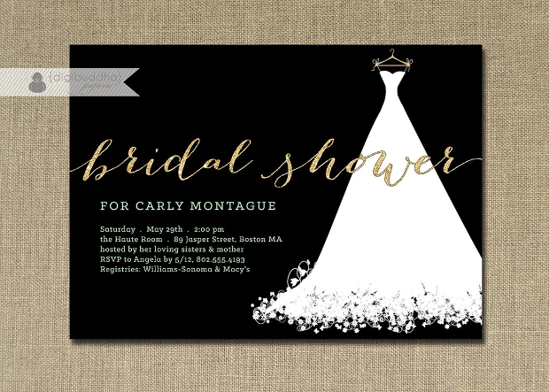 Black Formal Bridal Shower Invitation