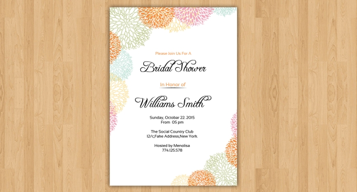 30 Bridal Shower Invitations Printable PSD AI Vector EPS Format