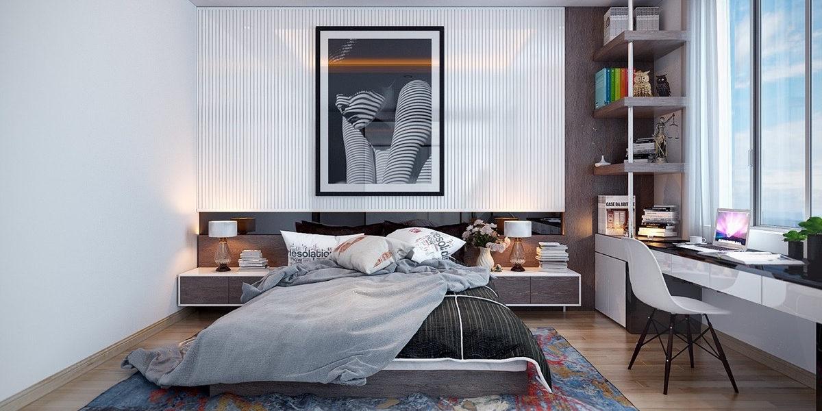 multi hued bedroom