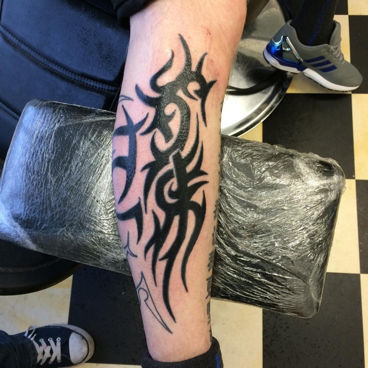 Tribal Leg Sleeve Tattoo