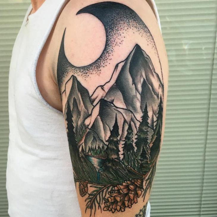 Pine Tree Sleeve Tattoo