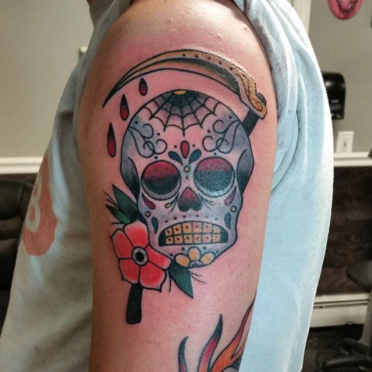 Sugar Skull Sleeve Tattoo