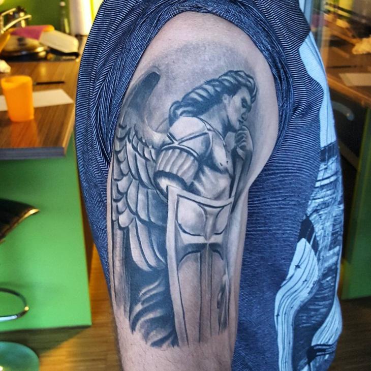 Warrior Angel Sleeve Tattoo
