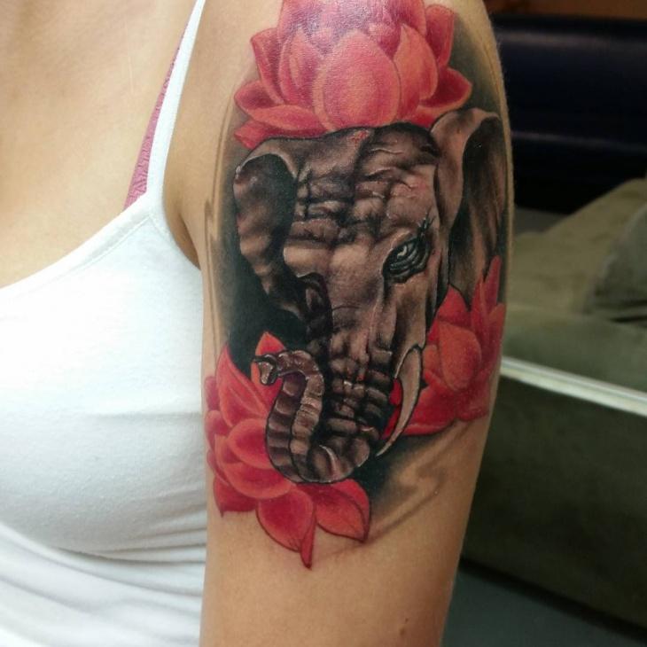 Lotus Flower Sleeve Tattoo Design