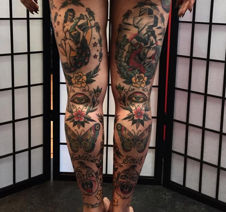 Traditional Leg Sleeve Tattoo