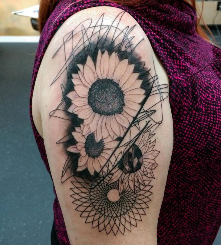 Geometric Flower Sleeve Tattoo