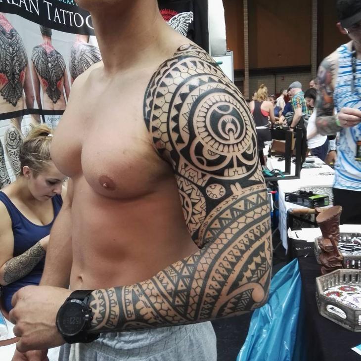 Tribal Polynesian Sleeve Tattoo