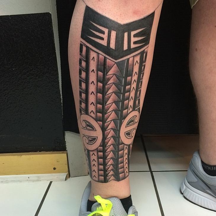 Polynesian Leg Sleeve Tattoo