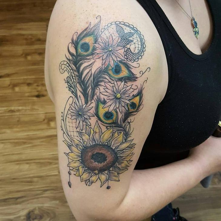 Peacock Feather Sleeve Tattoo